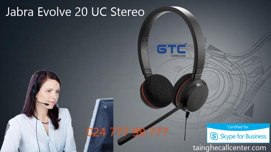 Tai nghe Jabra Evolve 20UC Stereo trải nghiệm chăm sóc khách hàng tốt nhất.