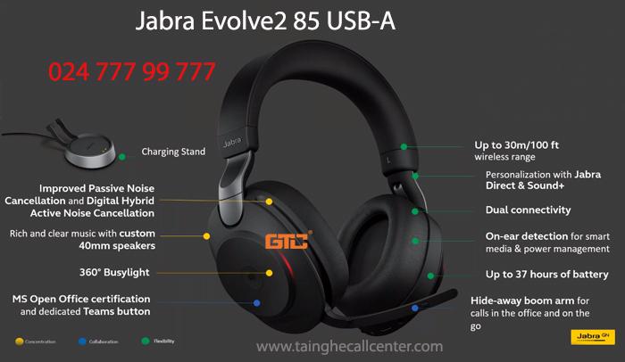 Jabra Evolve2 85 USB-A tai nghe không dây chất lượng cao