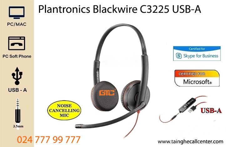 Tai nghe Plantronics Blackwire C3225 USB-A thân thiện, bên, đẹp, thoải mãi khi đeo